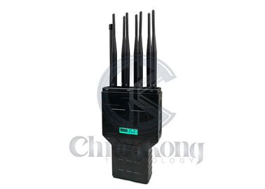 China High Power Handheld Signal Jammer , 8 Bands Cell Phone Signal Jammer High Gains Antenna factory