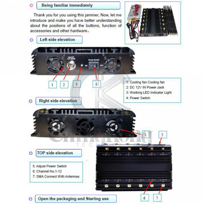 Desktop 16 Channel WIFI Jamming Device Used In Car or Office,Mobile Phone GPS LOJACK Signal Blocker