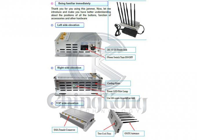 GSM 3G 4GLTE High Power Signal Jammer 6 Omni Antennas 2 Cooling Fans Inside