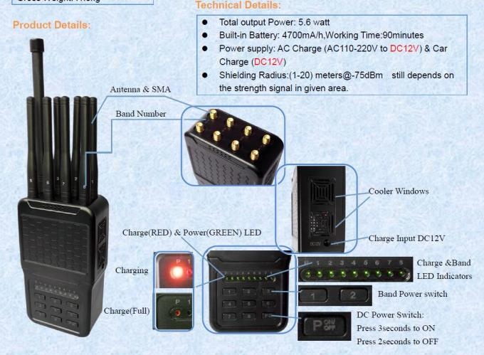 Handheld 8 Bands GPS Signal Jammer Cellphone 4G/3G/2G WiFi Blocking Up to 20m